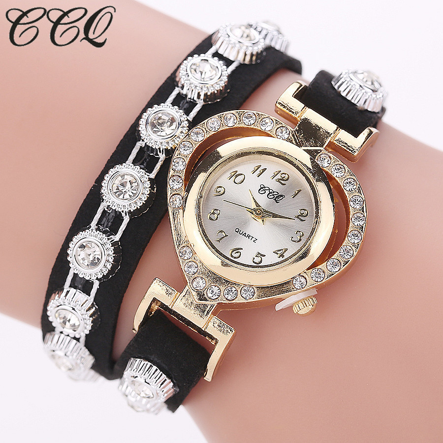 CCQ Brand Luxury Gold Heart Rhinestone Watch Fashion Women Bracelet Clock Wrist Quartz Watch Ladies Relogio Feminino Gift ccq luxury brand vintage leather bracelet watch women ladies dress wristwatch casual quartz watch relogio feminino gift 1821