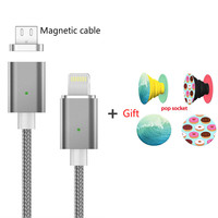 UVR magnetic charger 1m Nylon Micro Usb Charger for iphone 6 7 8 Android Phone fast charging and data sync +free phone holder