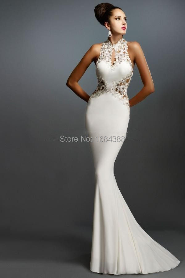 fe55bde884d13 Mermaid White Prom Dresses Halter Sleeveless Applique Elegant Evening Gowns  Hole Back Formal Long Prom Dress 2015 Latest Design