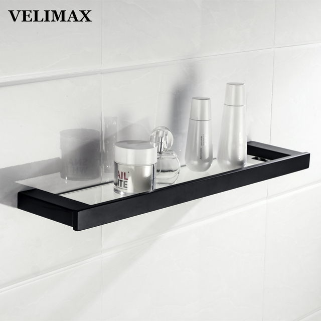 Floating glass shelves Triangle Velimax Floating Glass Shelf For Bathroom Black Frame Glass Shelves Wall Mounted Modern Glass Shelf Bathroom Storage 56cm Amazoncom Velimax Floating Glass Shelf For Bathroom Black Frame Glass Shelves