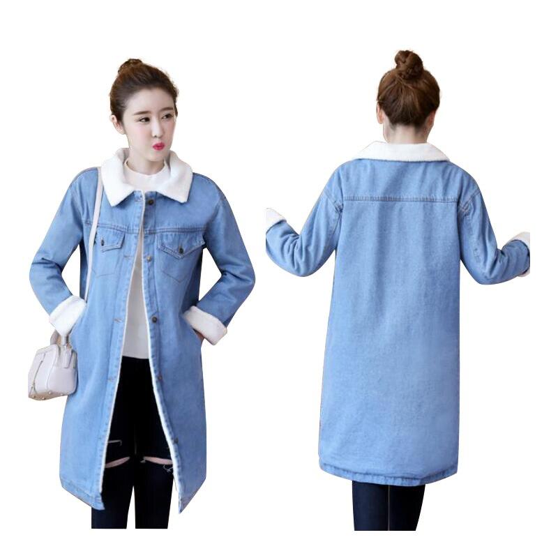 Automne pu Chaud Loisirs Bleu Femmes Denim Manteau D'extérieur Pour Ciel Vêtements Large En Long Avec 2019 Laine Hiver Jean Jeans Veste D'agneau PiuXOkZ