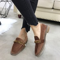 MIULAMIULA Brand Designer 2018 Winter Fashion Metal Golden Chain Bee Pearl Woman Flats Shoes Soft Rabbit Hair Warm Suede Loafers