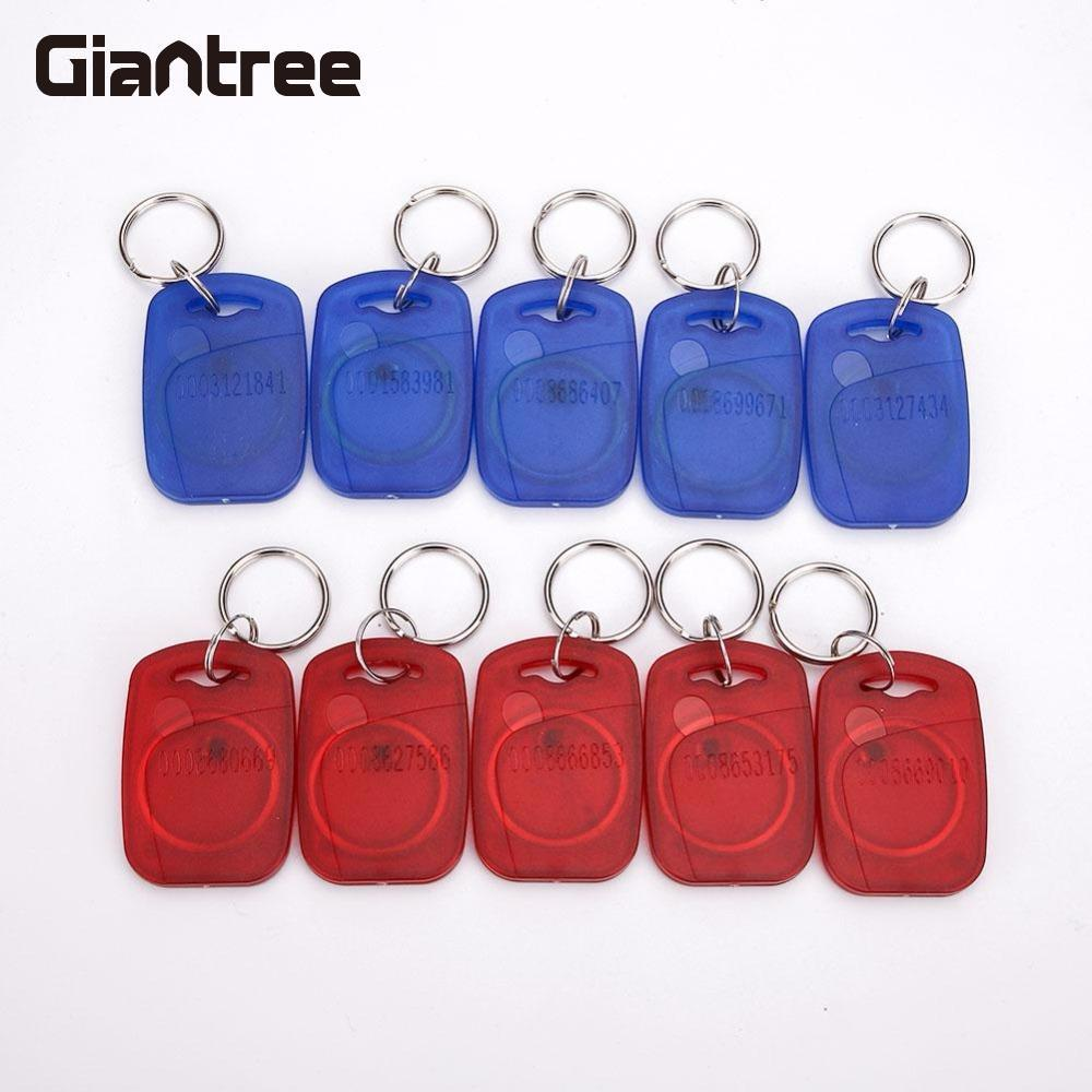 Giantree 2017 New 125KHZ Smart Read Only ID Card Key Chain Fob Red+Blue Transparent Tag Read Only Key Ring Access Control Card winfeng 500pcs lot custom printing irregular pvc die cut combo key chain card 3 parts combo card easy snap off key card