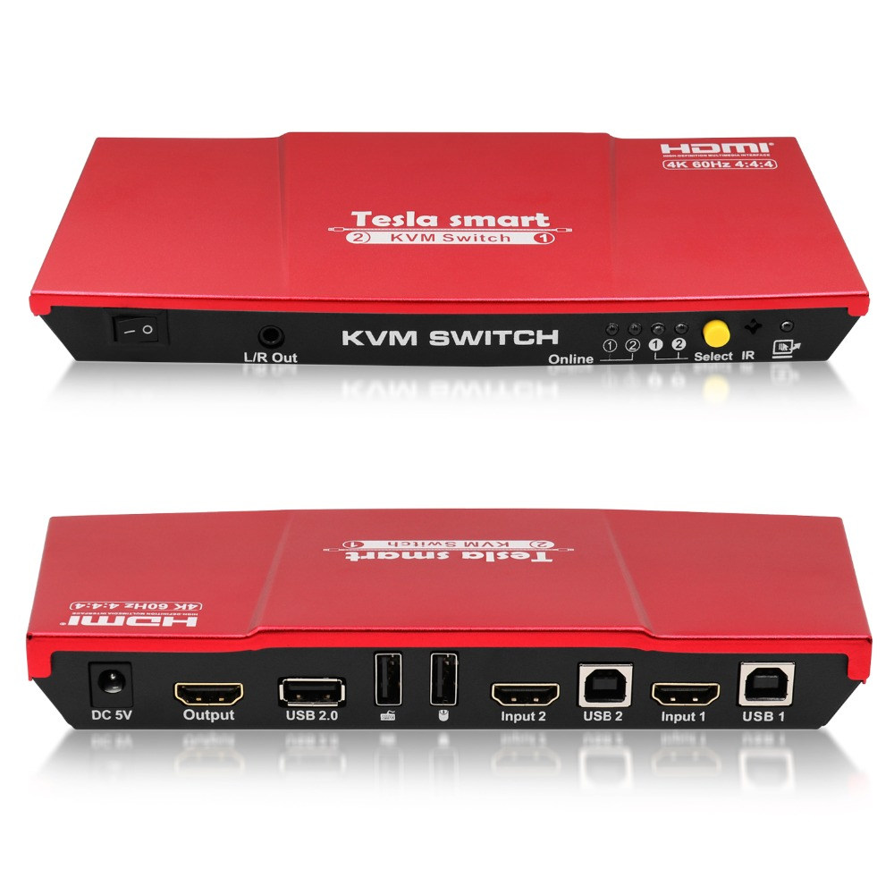Tesla smart High Quality HDMI 4K@60Hz HDMI KVM Switch 2 Port USB KVM HDMI Switch Support 3840*2160/4K*2K Extra USB2.0 Port Red
