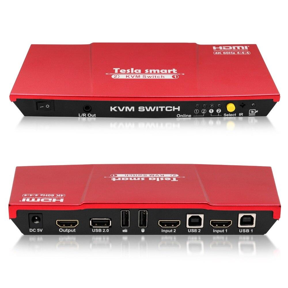Tesla smart haute qualité HDMI 4K @ 60Hz HDMI KVM commutateur 2 ports USB KVM HDMI commutateur prise en charge 3840*2160/4 K * 2 K Port supplémentaire USB2.0 rouge