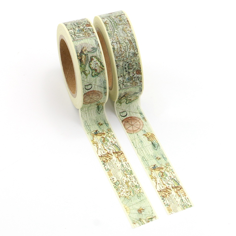 2PCS/lot Decorative Retro World Map Washi Tapes Paper For Planner Scrapbook Bullet Journal Adhesive Tapes 15mmx10m School Supply