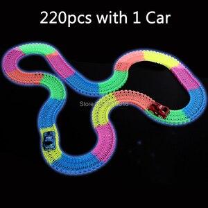 Image 3 - Brilha no escuro trilho diy, faixas mágicas 360, montagem flexível, pista luminosa, carro de corrida com luz led veículos para cima