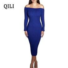 ee1111592d979 QILI Kapalı Omuz Kalem Elbise Kadın Uzun Kollu Çizgi Boyun Sıkı Bodycon Elbiseler  Sonbahar Kış Zarif