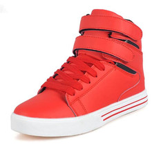 High Tops Men Shoes Mens Casual Shoes White Red Black Lace Up Student PU Leather Boots Hook & Loop Board Shoes Red White