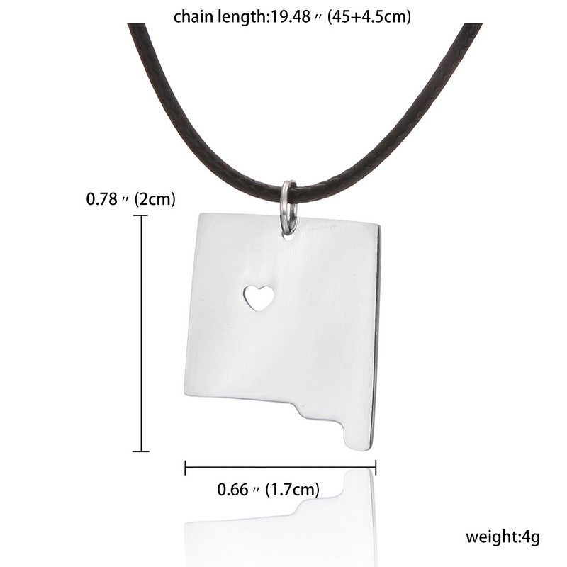 Skyrim New Mexico State US Map Charm With A Heart Statement - Mexico state us map