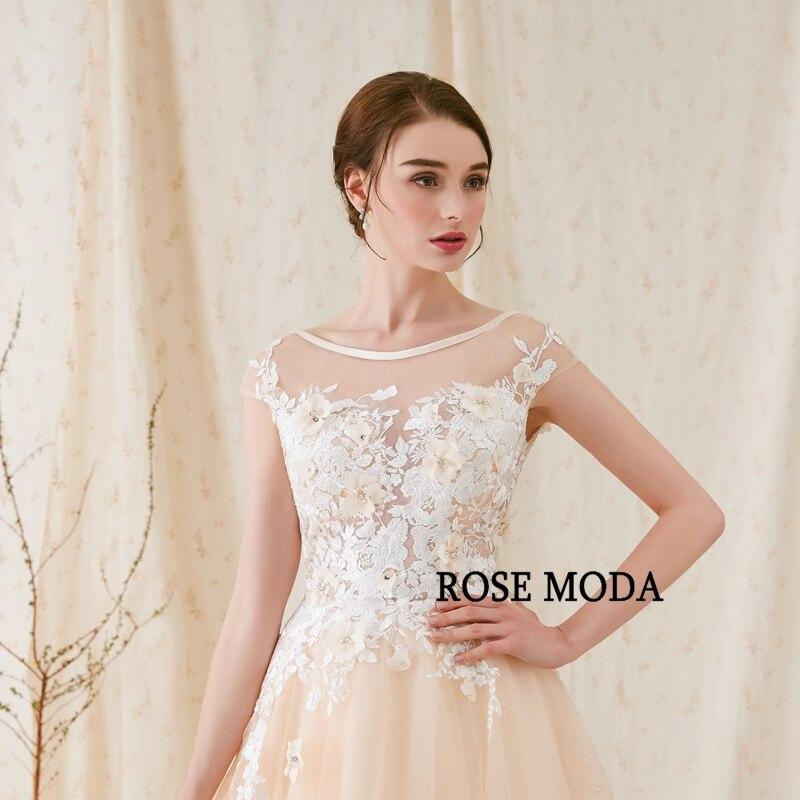 Rose Moda Modern 3D Blommigt Bröllopsklänning Låg V Tillbaka - Bröllopsklänningar - Foto 4