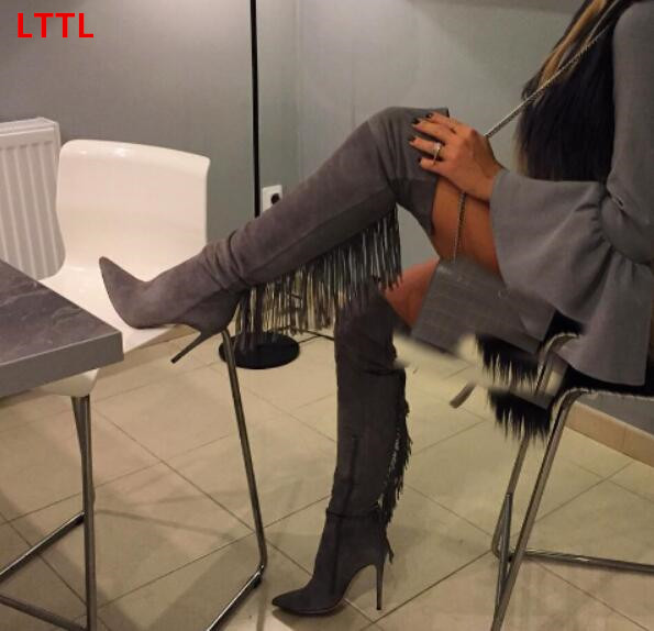 70618f7c4a015b Taille 35 43 gris couleur bout pointu glissière latérale sur la genou haute bottes  pour femmes automne hiver moto cuissardes bottes dans Cuissardes de ...