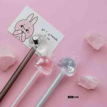 30pcs Gel Pens Cartoon Kawaii Rabbit black colored gel-inkpens for writing Cute stationery office school supplies 0.5mm