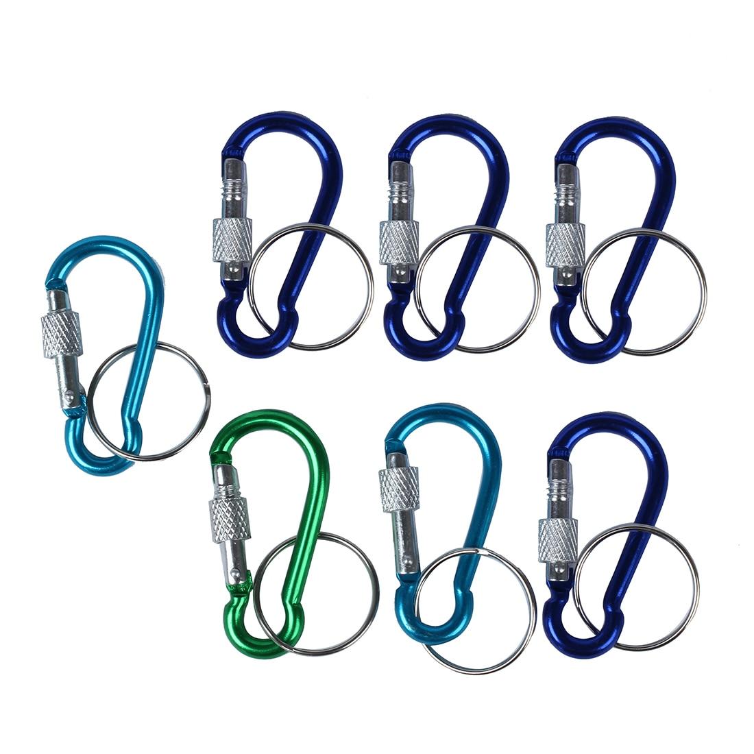 7 Pcs 5# Screw Lock Mini Multicolor Aluminum Carabiner Hook W Keyring