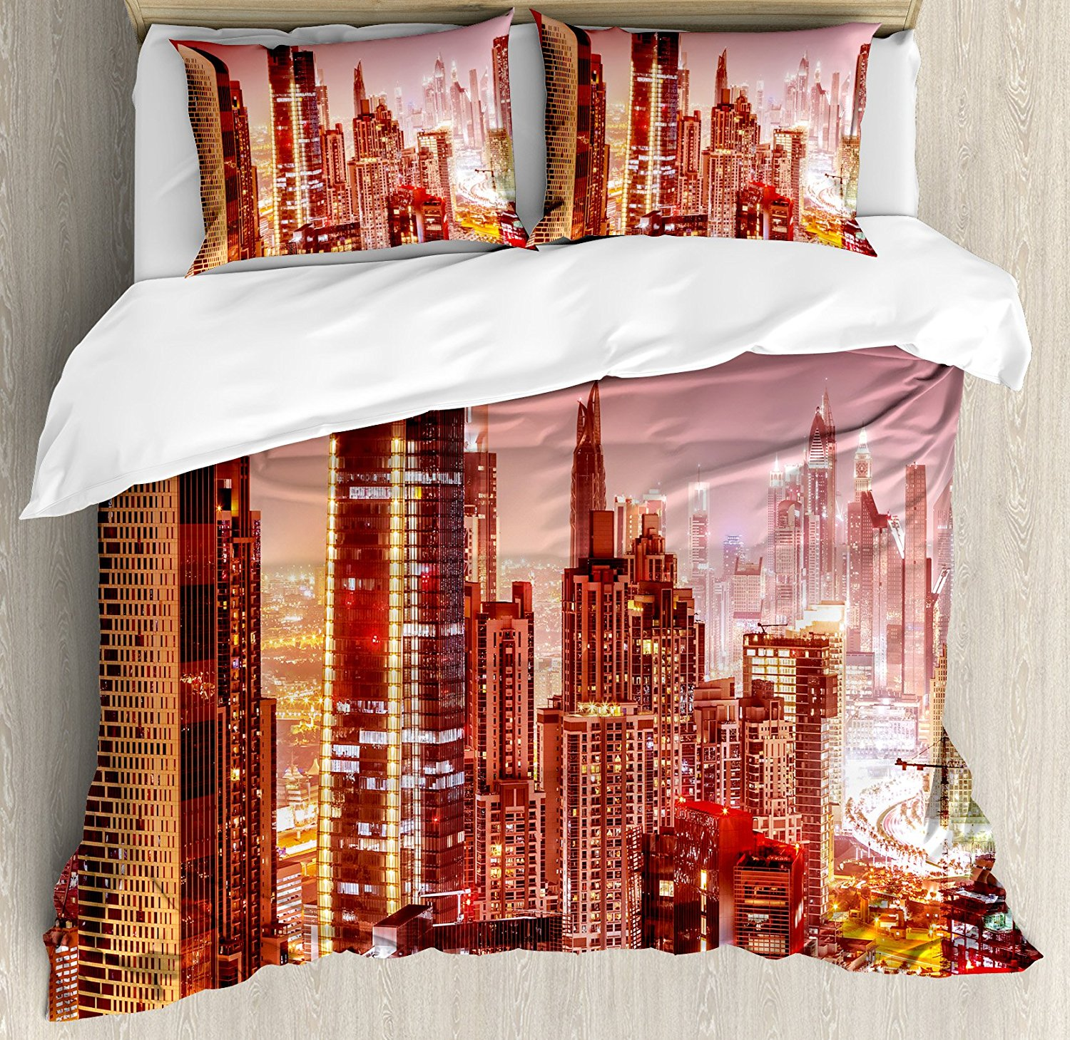 Cityscape Duvet Cover Set Dubai at Night Cityscape with Tall Skyscrapers Panorama Picture Arabian Peninsula Bedding Set