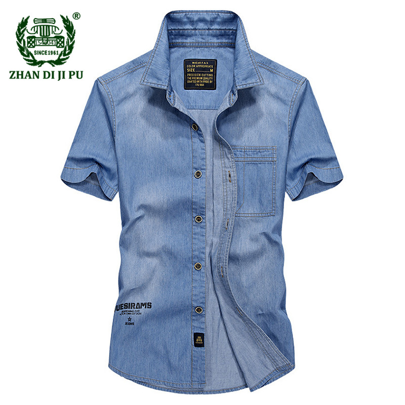 2018 Europe mens summer high quality casual brand cowboy style short sleeve shirt man fashion afs jeep denim blue shirts tops