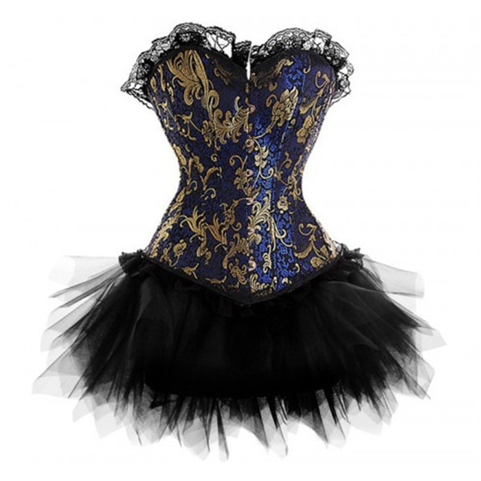 Burlesque Blue Gold Victorian Brocade Corset and Tutu Skirt Outfit Halloween Christmas Costume