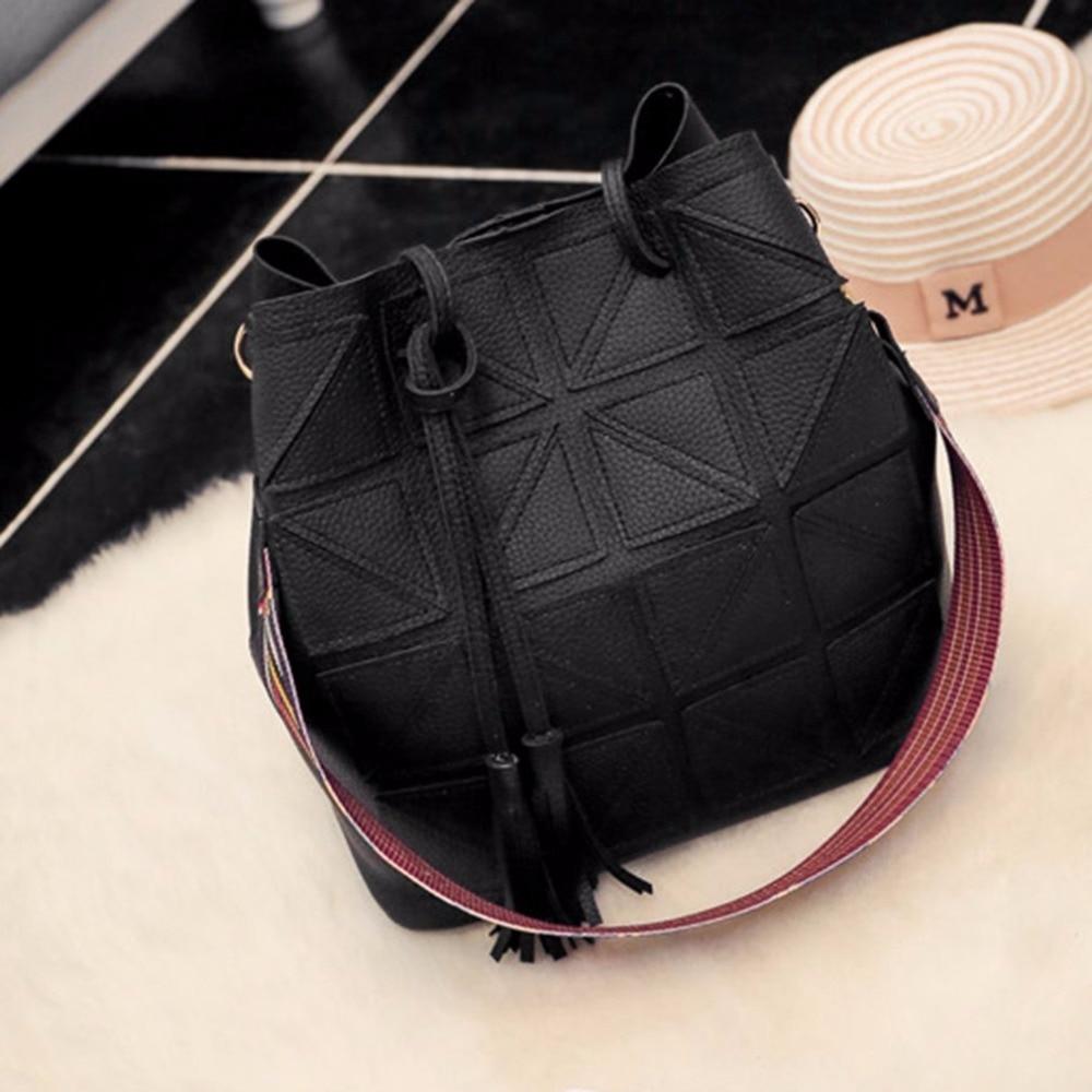 Women Tassel Handbag PU Leather Shoulder Bag Large Capacity Bucket Tote Detachable Sling Bag With Colorful Strap Womens bags