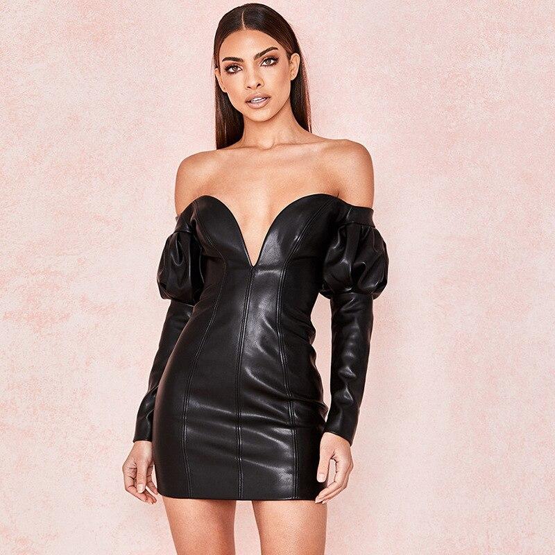 BKLD Fashion Black PU Leather Bodycon Dress 2019 Autumn Women Sexy Off Shoulder Long Sleeve Mini Dress Backless Party Club Dress