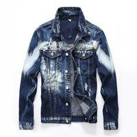 Denim Jacket Mens 2018 Fashion Bomber Denim Jacket For Men Bomber Coat Distressed Male Jeans Plus