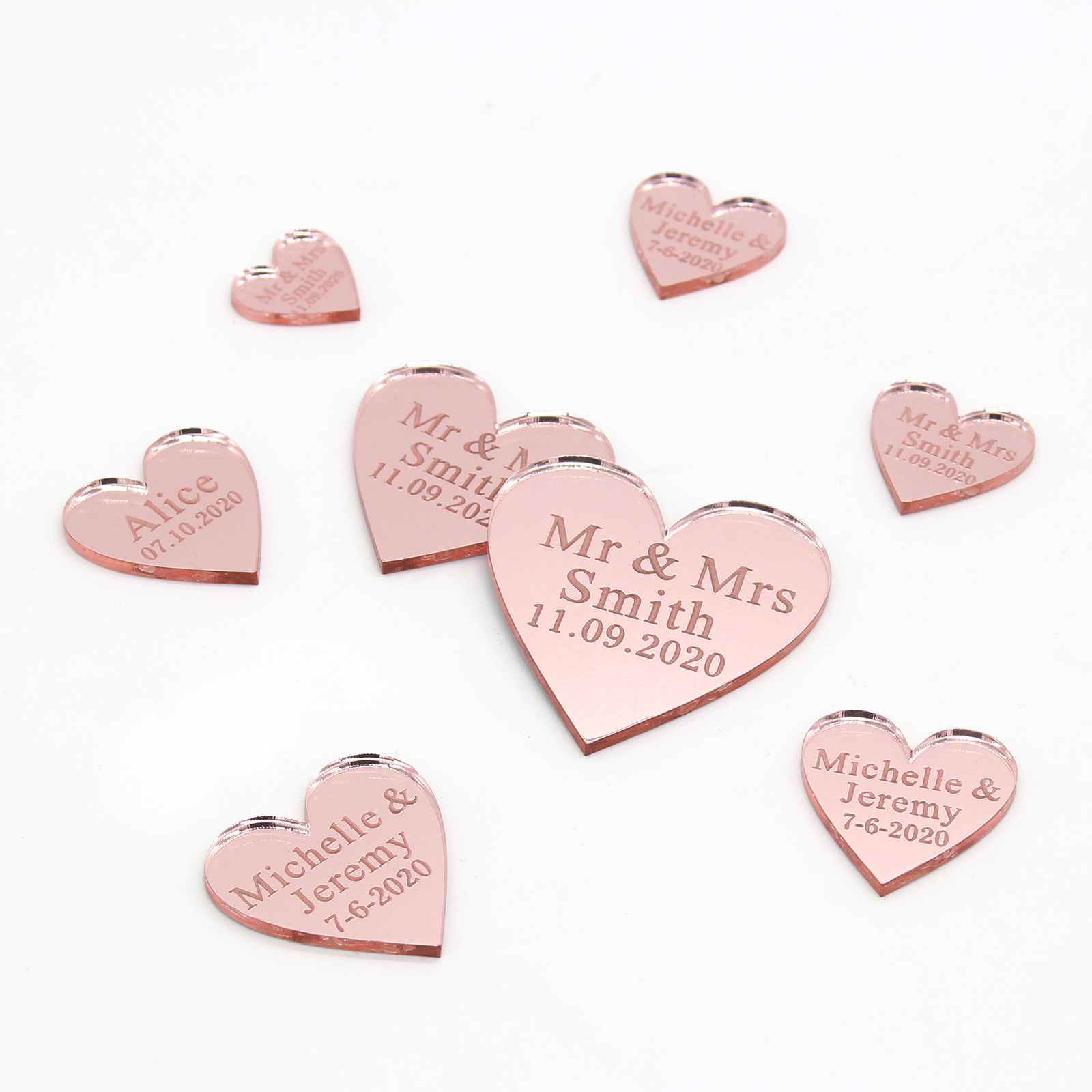 50Pcs Personalized Engraved Acrylic Mirror Love Heart With Hole Gift Tags Wedding Party Table Confetti Decor Centerpieces Favors Pakistan