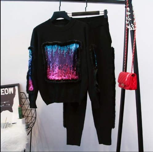 2018 nouveau automne et hiver femmes fourrure couture paillettes à manches longues chandail + tricot pantalon deux pièces pantalon de costume décontracté