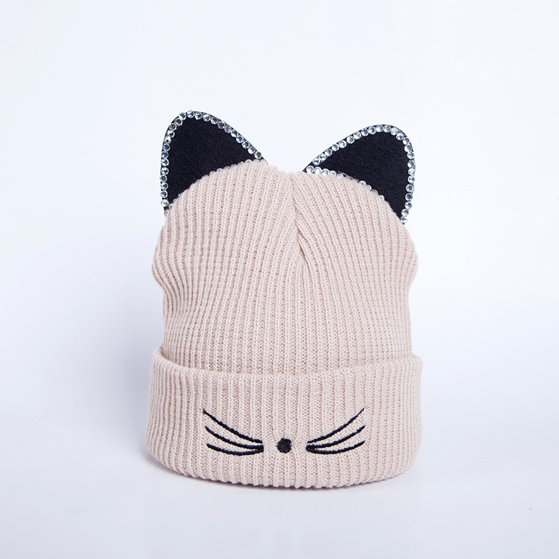 Knitted Acrylic Warm Winter   Beanie   Caps Hot Sale Cat Ears hat Women Hat Crochet rhinestone 2019 New   beanies   for ladies