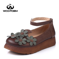 WooPoem 2016 New Spring Autumn Shoes Women Full Grain Leather Flats Handmade Embroidery Comfortable Breathable Free