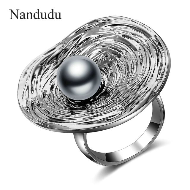 Nandudu Big Round Ring for Women Retro Silver Color with Black Pearl Decoration