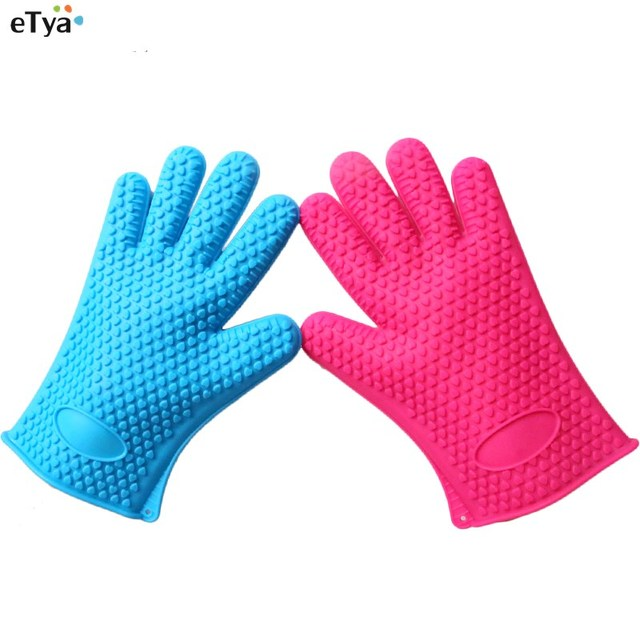 Silicone 5 Colors Home Kitchen BBQ Oven Pot Holder Mitt Glove Cooking BBQ  Grill Glove Oven