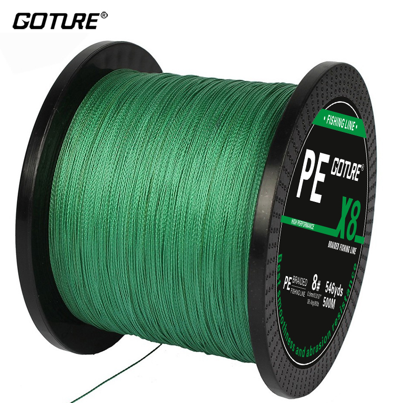 Goture 8 STRANDS 500m PE Braided Fishing line Super Strong Japan Multifilament Fishing Line 17 22