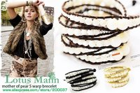 2013 latest mother of pearl on brown leather with wholesale and retail,charm jewelry Wrap Bracelet on Leather
