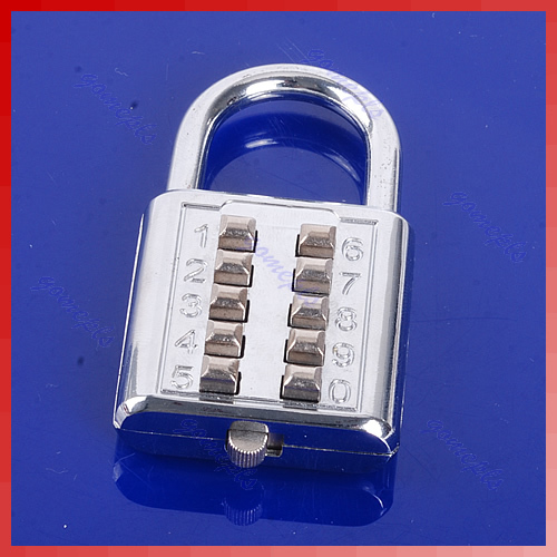 1pc 5 Digit Push-Button Combination Number Luggage Travel Code Lock Padlock Silver Nice Gifts Wholesale