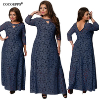 6XL 2019 New Spring Summer Women Long Dress Lace Plus Size Dress Fashion Party Elegant Big large size Maxi Dresses Girl Clothes