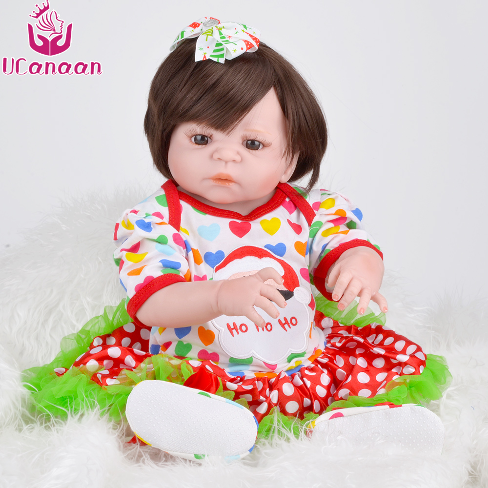 UCanaan Silicone Reborn Baby Doll Brown Eyes Reborn Dolls Christmas Dress Playmate Gift Toys for Girls ucanaan 1 3 bjd doll reborn girls dolls 19 jointed body chinese style maxi long dress wig makeup dressup diy sd kids toys