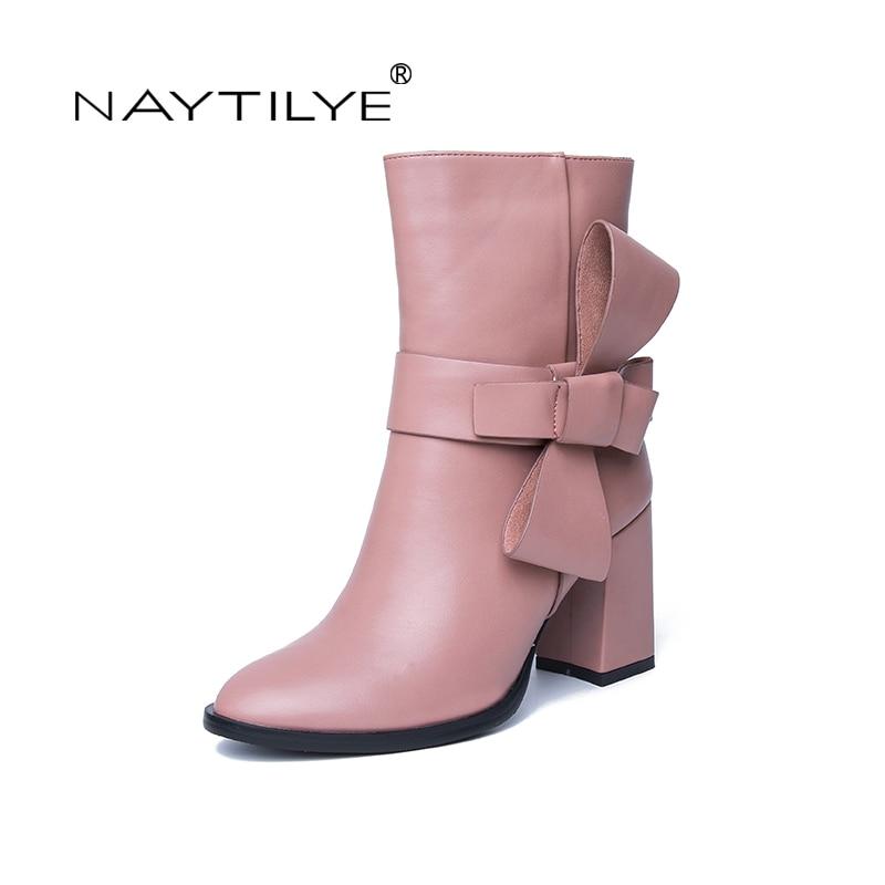NAYTILYE новая мода 2018 искусственная ЭКО-кожа обувь женщина ботильоны высокие каблуки круглый носок молнии весна осень черный розовый Размер 36-40