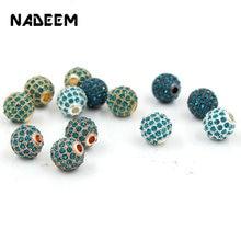 5 pçs/lote atacado azul cz bola de cristal contas para fazer jóias diy cobre espaçador contas pulseira colar jóias acessórios