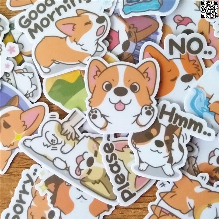 36 Pcs/set Cute Corgi Dog DIY Decal Mobile/PC Art Rhinestone Self Adhesive Scrapbooking Stickers Car Sticker Wedding Decoration