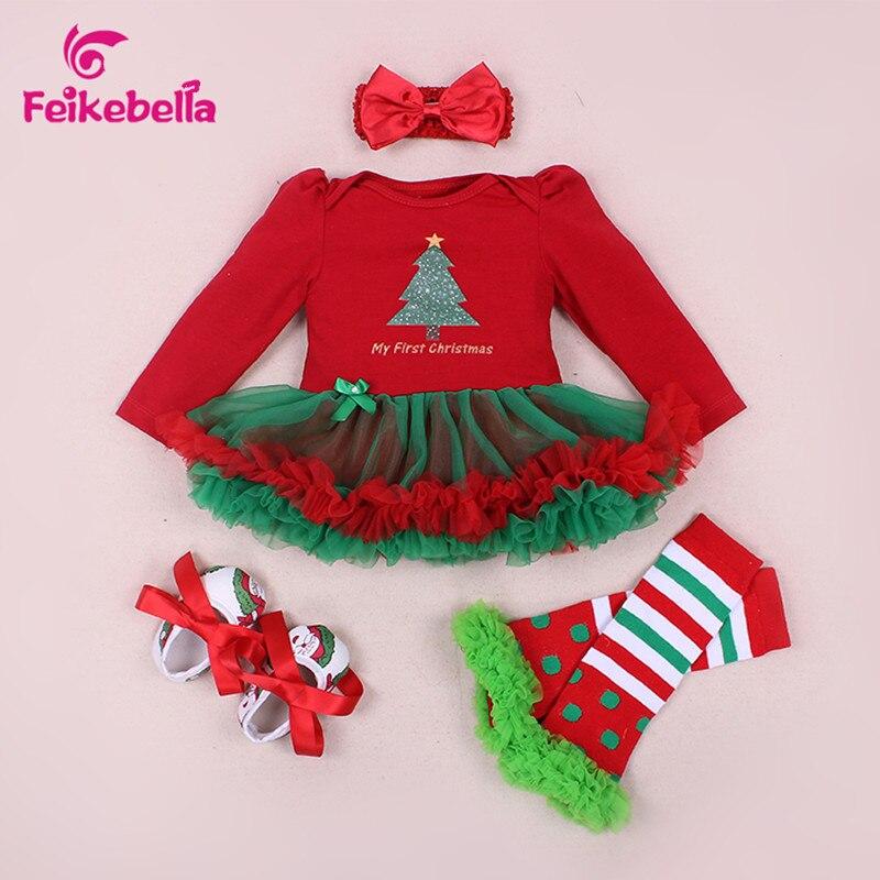 c15257843da6 baby girl clothes Xmas Baby Girl Dress 4pcs Infant Clothing Sets ...