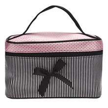 Superior Lowest Price Women's Bag Square Bow Stripe Cosmetic Bag Big Lingerie Bra Underwear Dot Bag Travel Bag Toiletry Kits Sac
