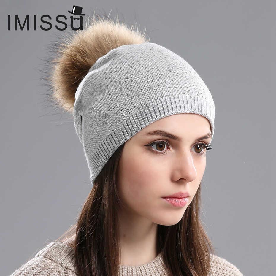 IMISSU Chapéus Usados no Inverno Malha Gorros de Lã Cap das Mulheres com o Real Raccoon Fur Pompom Chapéu Grosso Quente Caps para meninas