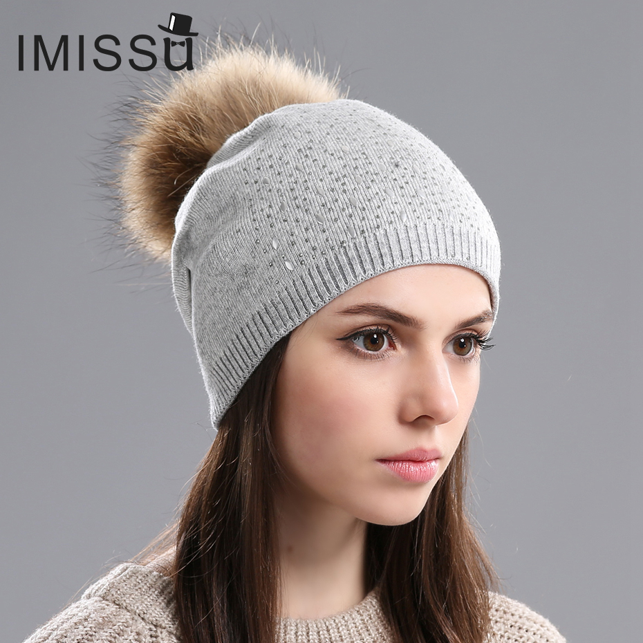 IMISSU Women's Hats Used in Winter Knitted Wool Beanies Cap With Real Raccoon Fur Pompom Hat Thick Warm Caps for Girls