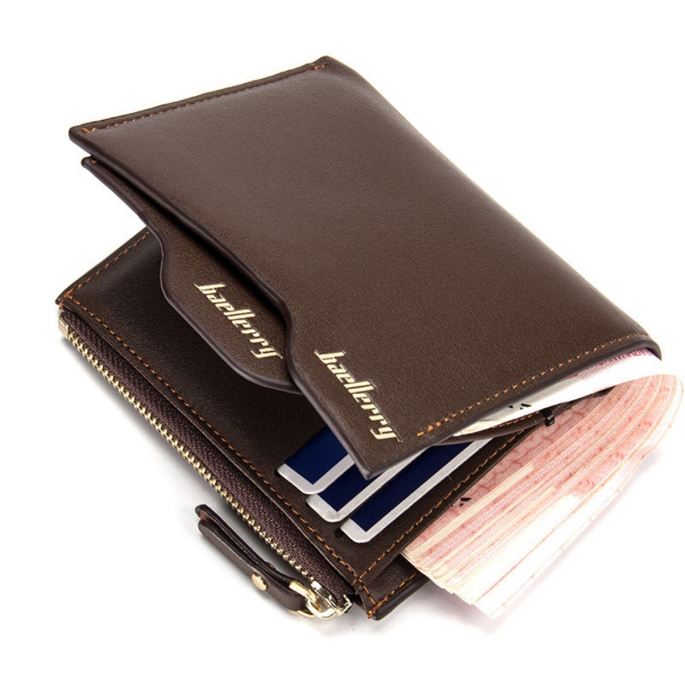 Fashion Men's wallet zipper Coin pocket purse short section Clutch Portfolio card wallet cross section Coin-bit multi-bit purses