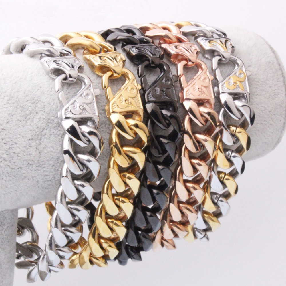 7-11inches Free Choose Biker Men's Curb Chain Bracelet 12/15mm Wide Silver Gold Black Color Stainless Steel Cuban Link Chain