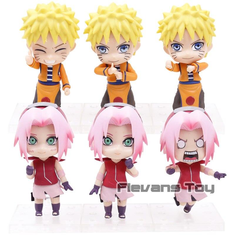 Naruto Shippuden Uzumaki Naruto / Sakura Haruno PVC Action Figures Toys Nendoroid Dolls 3pcs/set anime naruto shippuden haruno sakura reviving sharingan pvc action figure collection model kids toys doll 25cm