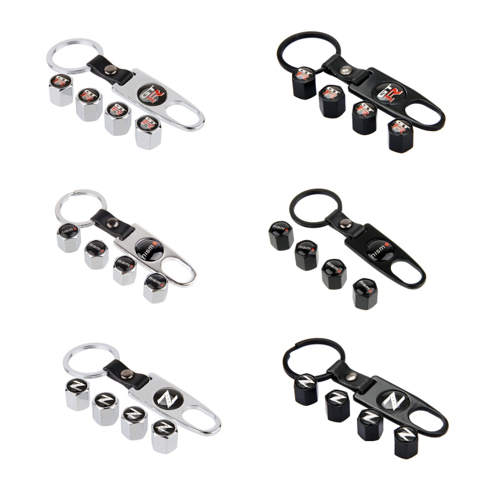 Car Styling Wheel Tire Valve Caps With Keychain For Nissan