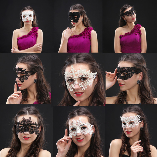 mysterious angel new girls halloween ball mask women white black sexy lady lace masks for masquerade - Girl Halloween Masks