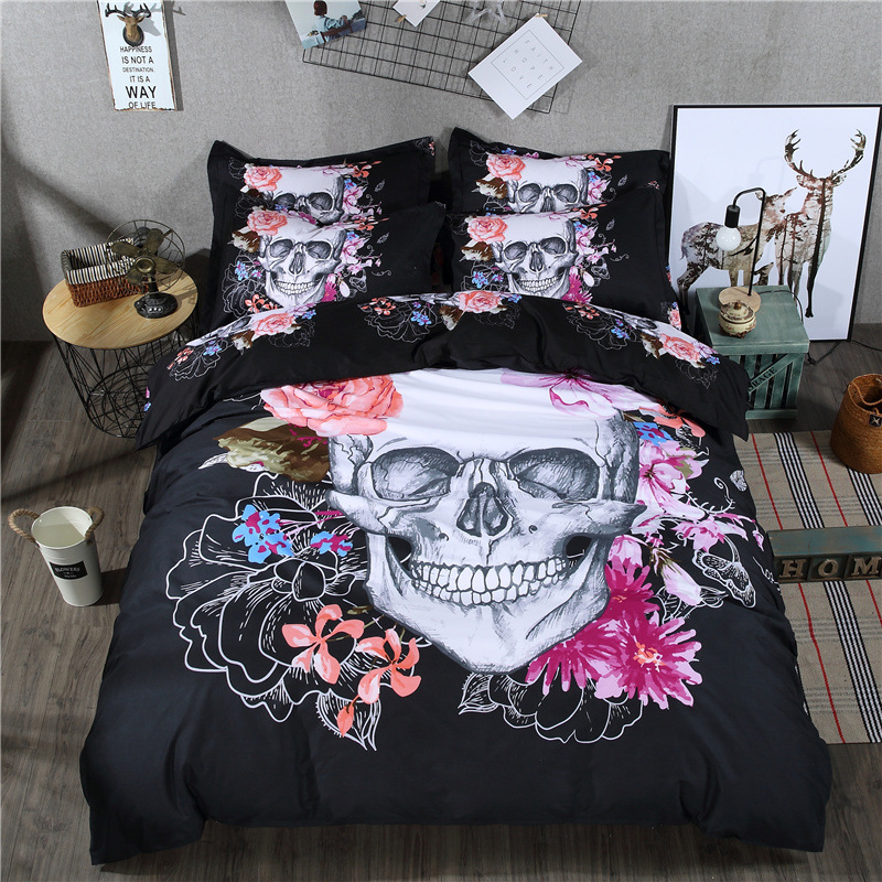 3D Sugar Skull Bedding Set Pink Flower 3 Pcs Polyester Black Duvet Cover 240x220 With Pillowcase Single King Queen Double 80015