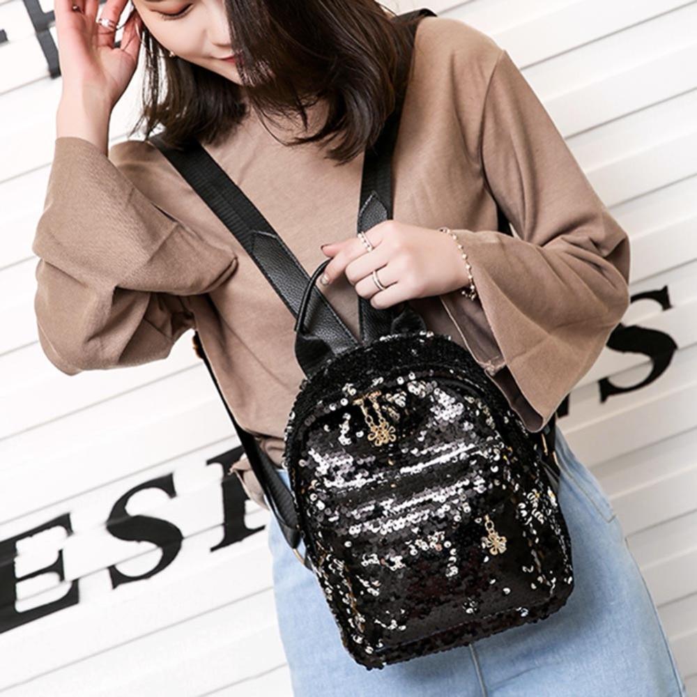 Women Shining Sequins Backpack Pu Leather Rucksack Girl Mini Travel Shoulder Schoolbag Backpack Female Leisure Mochila Feminina #3