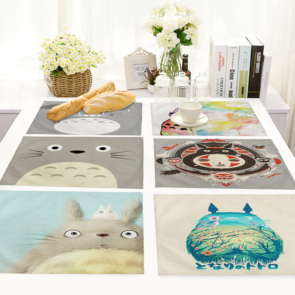Creative Animal Cute Cartoon Totoro Printed Table Napkin For Wedding Set Bowl Dining Mats 42*32cm Kids Table Set Home Decoration